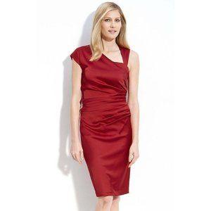 Suzi Chin Asymmetric Stretch Satin Sheath Dress 8